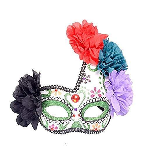 MMMMM Face mask Shield Veil Guard Screen Domino False Front Halloween mask Half face Side Flower Painted Princess mask Makeup Dance Party mask,1