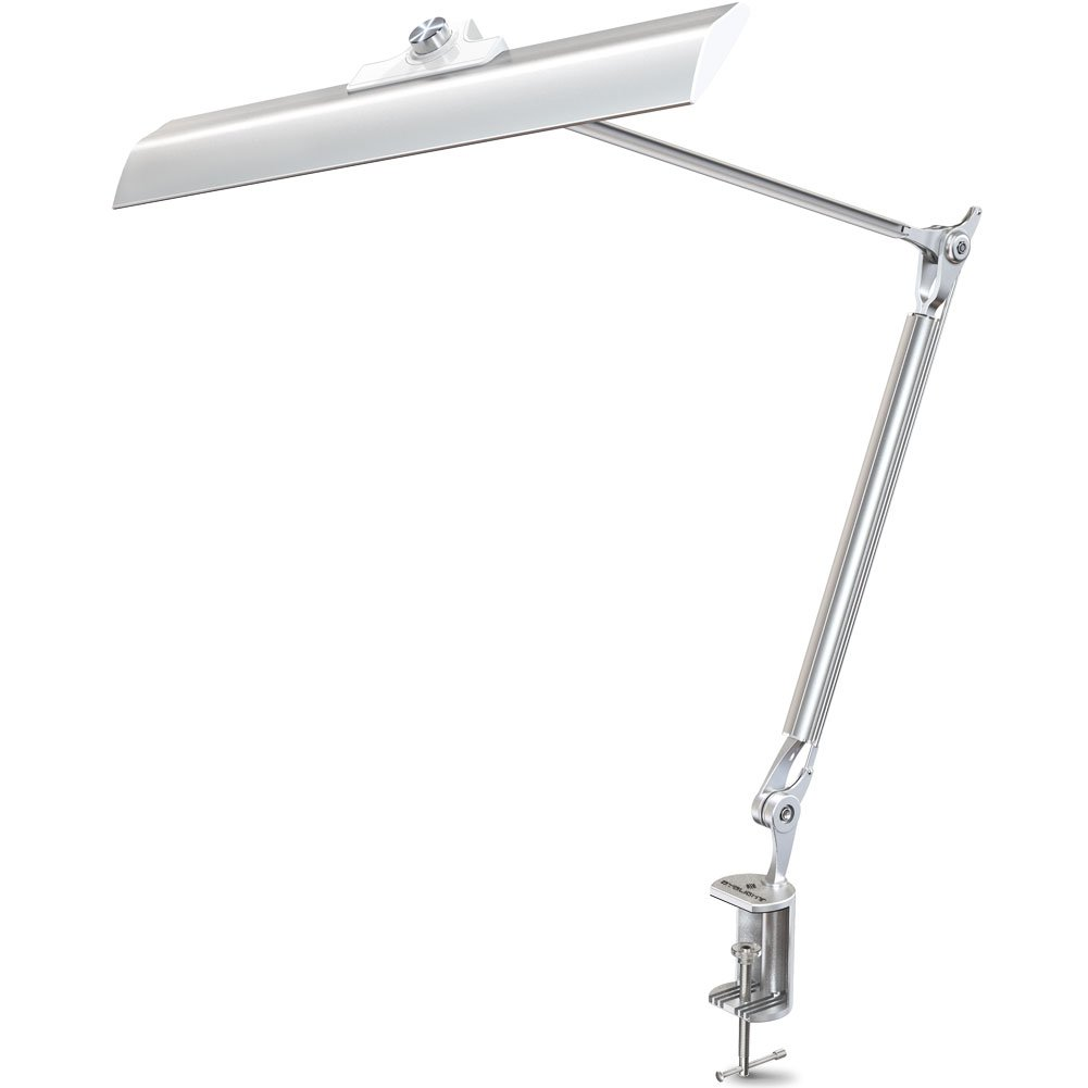 BYB H201 LED Architect Desk Lamp with Metal Clamp, Swing Arm Dimmable Task Lamp with Eye-Care Tech, Rotating Knob Control of 4 Color Modes, Stepless Dimming w/Memory Function