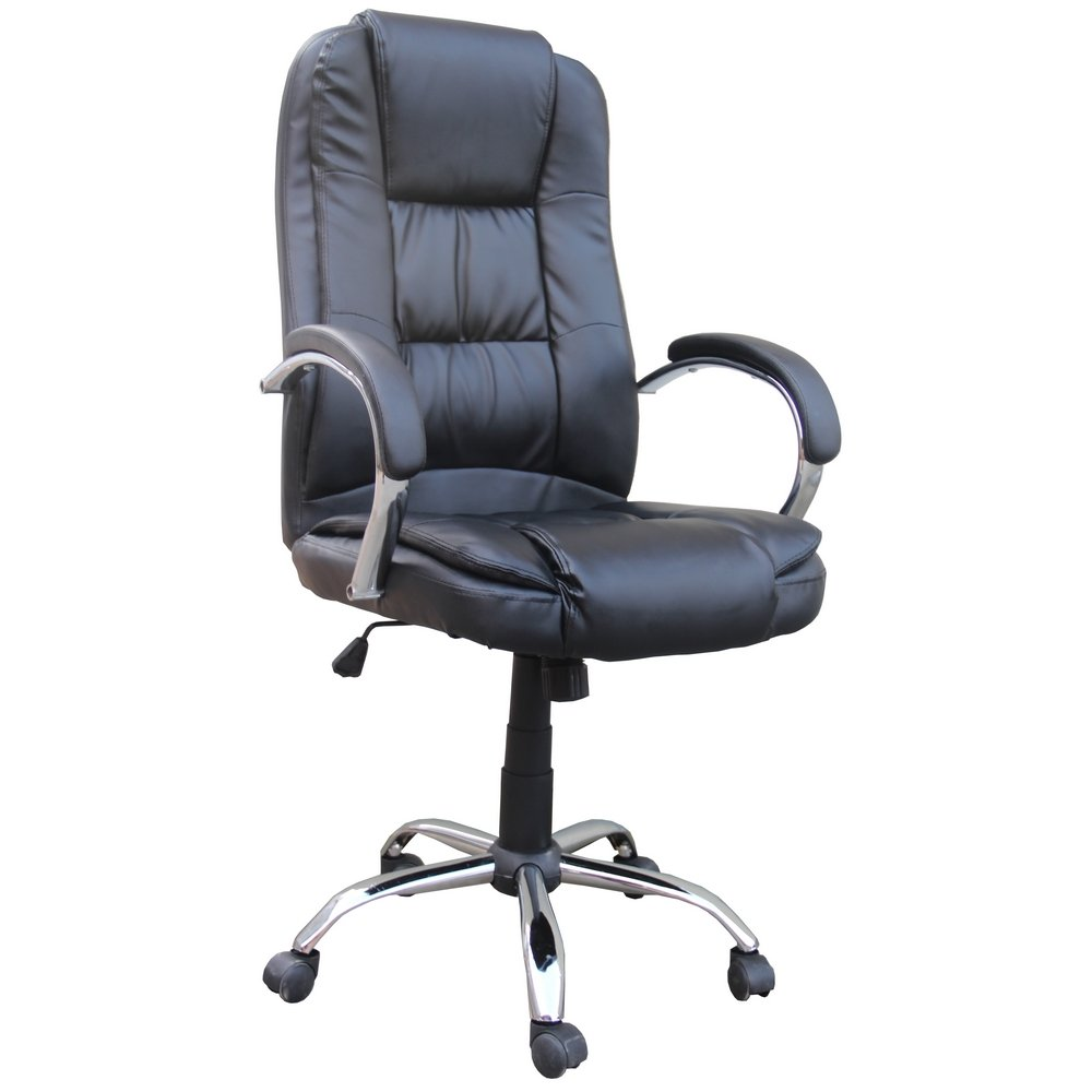 Homegear PU Leather Executive Wheeled Computer Desk Chair / Office Chair Black by Homegear