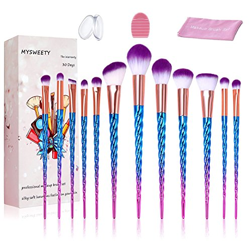 16PCS Makeup Brush Set, MYSWEETY 2018 12PCS Foundation Colorful Unicorn Blending Cosmetic Eyeshadow Brush + 2pcs Silicone Makeup Sponge + 1pc Makeup Wash Egg + 1pc Makeup Brush Bag