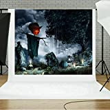 TAOtTAO Halloween Backdrops Pumpkin Vinyl 5x3FT Lantern Background Photography Studio (E)