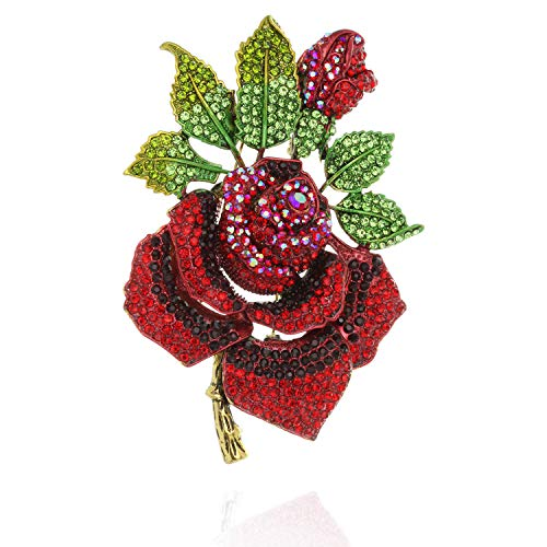 SP Sophia Collection Spring Full Bloomed Rose Brooch Pin with Green Leaves Embellished with Rhinestones in Red