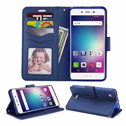 Blu Studio G Max S570Q Cellphone Wallet Case with Stand Flip Case Hand Band Credit Card Slots (Wallet Blue)