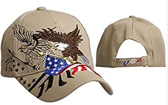 Patriotic American Bald Eagle USA Tan Baseball Cap Khaki Beige with Black Hat American Flag Colors Red, White and Blue, Patriotic, Breathable One Size to Fit Men, Women and Teens, America, USA