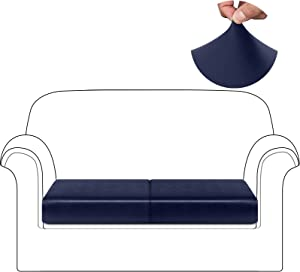 HDCAXKJ Waterproof Leather Couch Cushion Covers Individual Stretch Sofa Seat Cover for Chair Loveseat Sectional Sofa Slipcover Living Room Pet Dog Furniture Protector (Navy Blue, Small - Pack of 2)