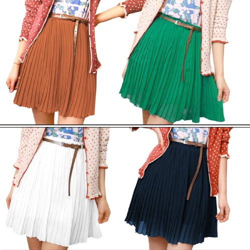 Allegra K Women's Chiffon Pleated Skirt with A Buckle Belt
