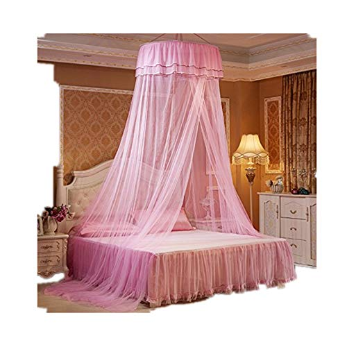 Xshelley Round Double Lace Curtain Dome Bed Canopy Netting Princess Mosquito Net high 270cm,Extra Wide,Extra Long,Extra Intensive,Insect Protection Repellent (Pink) (Decoraciones De Cuartos)