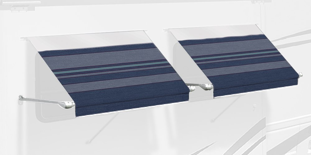 Carefree IE0357C00 SL Premium Indigo Blue 3.5' Long RV Camper Complete Window Awning with White Arms (Indigo with White Wrap and Red Tenera Thread)