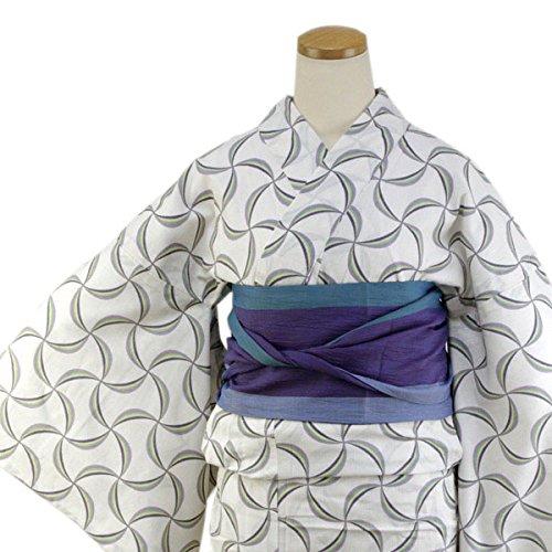 収穫ピンチヘルシーきもの京小町 レディース浴衣 フリーサイズ 単品 綿ちりめん 白地風車 ひでや工房オリジナル柄仕立て上がり女性ゆかた