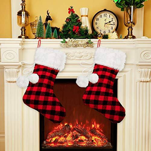 (Boao 2 Pieces 20 Inch Christmas Stockings with Faux Fur Cuff Pompoms Balls Christmas Holiday Stocking Gift Bag for Family Holiday Xmas Party Decorations (Red and Black Plaid)