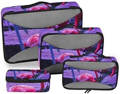 レッドアートスワンクレーン荷物パッキングキューブオーガナイザートイレタリーランドリーストレージバッグポーチパックキューブ4さまざまなサイズセットトラベルキッズレディース