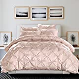 LA MEJOR Silk Cotton Duvet Cover Queen Size Pinch Pleat 4PCS Beige Color Bedding Set Comforter Cover Premium Quality Mulberry Silk