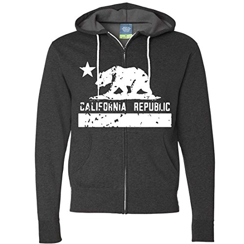 California Flag White Print Silhouette Zip-Up Hoodie - Charcoal Heather Large (Hoodie Silhouette Mens)