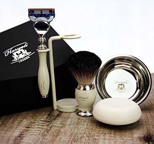 Complete Luxury Shaving Set featuring Pure Black Badger Brush, Gillette Fusion, Double Stand, Bowl & Soap. Gift for Him by Haryali London