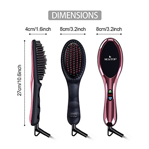 Ionic Hair Straightener Floating Brush for Silky Frizz Free Hair, Flexible Floating Massage Head Designed Anti-Scald Ceramic Straightening Hair Brush Comb + 4 Bonus Included (Mirror Pink) by MEXITOP (Image #5)