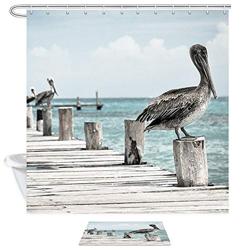 NYMB Tropical Ocean Coast Bird Shower Curtain Bath Sets with Rugs, Pelicans on Rustic Wooden Bridge Over Sea,Polyester Fabric Bathroom Shower Curtain Set 15.7x23.6in Flannel Doormat Bath Rugs,69X70in