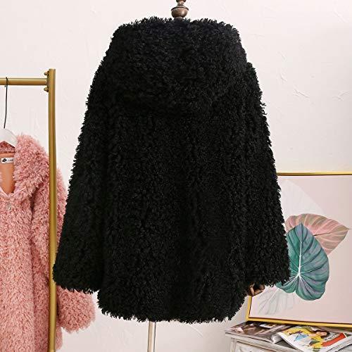 gruesa invierno larga Black de de piel cremallera de Chaqueta de abrigo mujer Chaqueta con Outwear piel Desgastar con Rcdxing sintética de capucha felpa manga Ropa con de waOpHqx