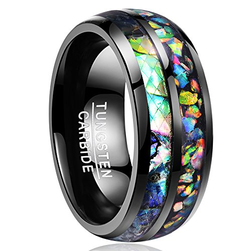 Nuncad Men's 8mm Black Tungsten Wedding Band Opal Engagement Ring Comfort...
