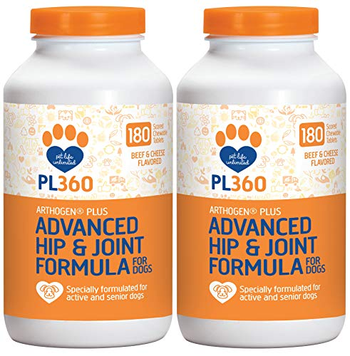 PL360 Advanced Hip and Joint Support for Dogs with Glucosamine and MSM, Arthogen Plus, 360 Count