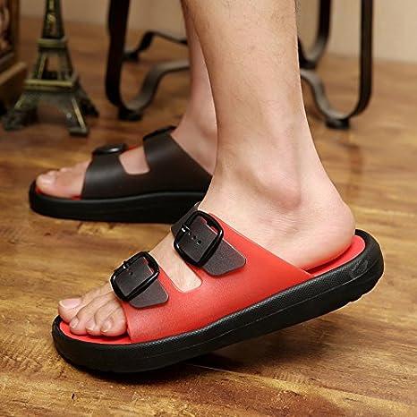 xing lin Homme Sandales grande taille femme Sandales männlichen étudiants Jeune Trend Sommer été Sandales Sandales Open Toe Tide, Noir/rouge, Taille 37