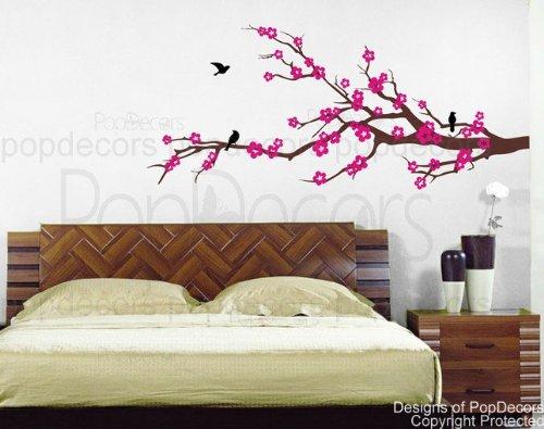PopDecors - Properous Cherry Blossom Wall Decals - Beautiful Tree Wall Decals for Kids Rooms Teen Girls Boys Wallpaper Murals Sticker Wall Stickers Nursery Decor Nursery Decals PT-0087-FBA