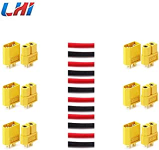 LHI 6 Pairs XT-60 XT60 Male Female Bullet Connectors Plugs for RC Lipo Battery …