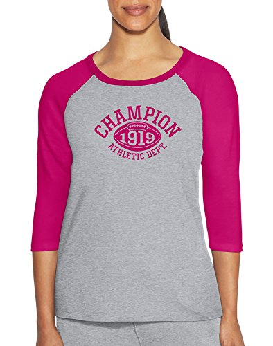 Champion Womens Heritage Slub Tee, XL, Oxford Grey Heather/Deep Raspberry (Jersey Vintage Champion)