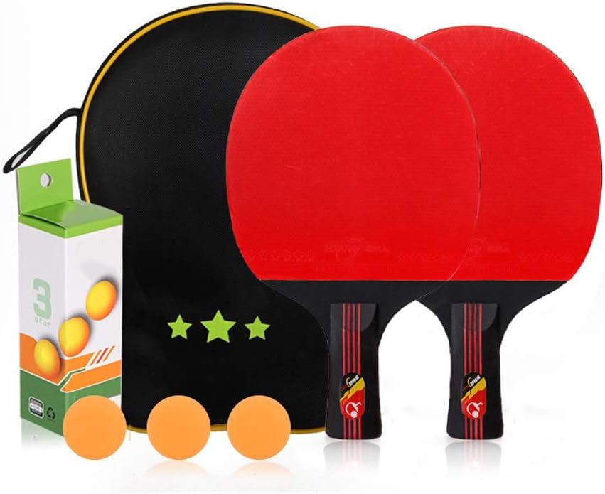 ZXHH Raqueta De Ping Pong, Pala De Tenis De Mesa Profesional, 2 Raquetas Y 3 Pelotas Y Raqueta De Ping Pong con Funda, Oficina del Club Deportivo En Casa,Short Section