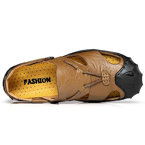Calzado Verde Verano Dedo Cerradas Playa Zapatos Del Cuero Libre Confortable Sandalias Garnier Pie Hombre Aire Al Moda w4gaqI8