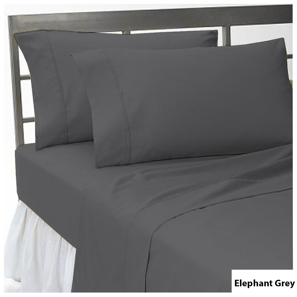 100% Egyptian Cotton 3 Piece Fitted Sheet Set upto 20 inch Deep Pocket Solid Pattern 1000 Thread Count All Sizes & Colors ( Queen , Elephant Grey ) Scala