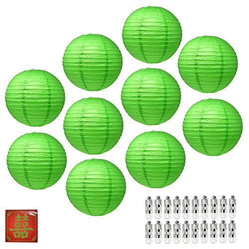 Mudra Crafts Paper Lantern with Led Light, Chinese Japanese Decorative Round Hanging Lamp (Green 12 Inches 10 Packs) -