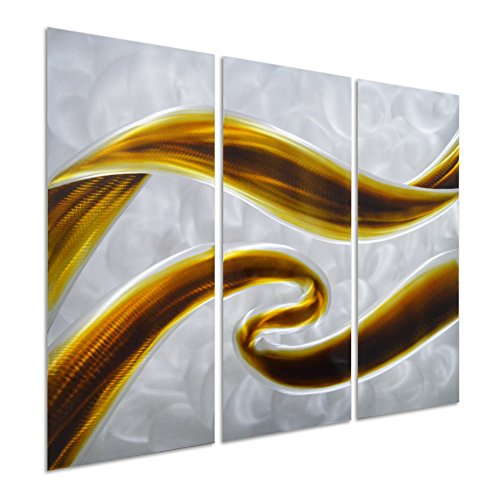 Pure Art Swirls of Color - Abstract Metal Wall Art Decor - Brown 3-Panel Small Design - Hanging Sculpture of 32