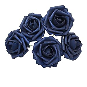 50 pcs Artificial Flowers Foam Roses Various Colors For Bridal Bouquet Bouquets Wedding Centerpieces Kissing Balls (Navy Blue)