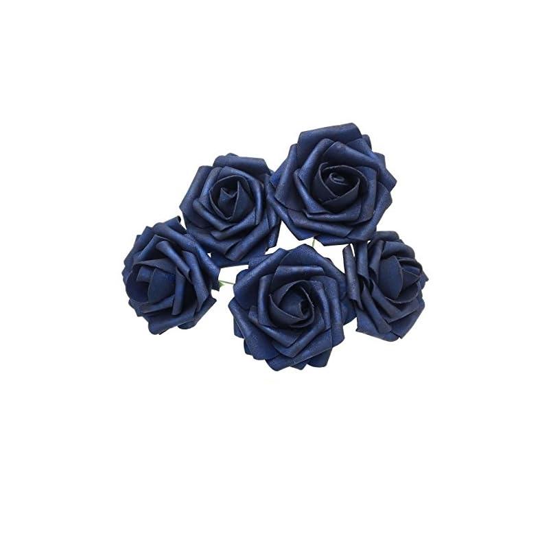 silk flower arrangements 50 pcs artificial flowers foam roses for bridal bouquet bouquets wedding centerpieces kissing balls (navy blue)