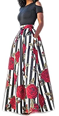Delcoce Women's Sexy Two-Piece Floral Print Pockets Long Party Skirts Dress S-2XL