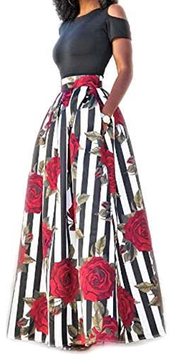 Two Piece Women Top Skirt Set Short Off Shoulder Long Floral Print Maxi Skirt XL - Maxi Dresses For Women For Church