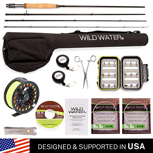 Wild Water Fly Fishing Deluxe Rod and Reel Combo 4 Piece Fly Rod 5/6 9' Complete Starter Package (Best Trout Fly Reel For The Money)