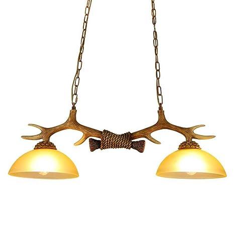 2 Lámparas astas Isla de cocina de madera y de cristal ...