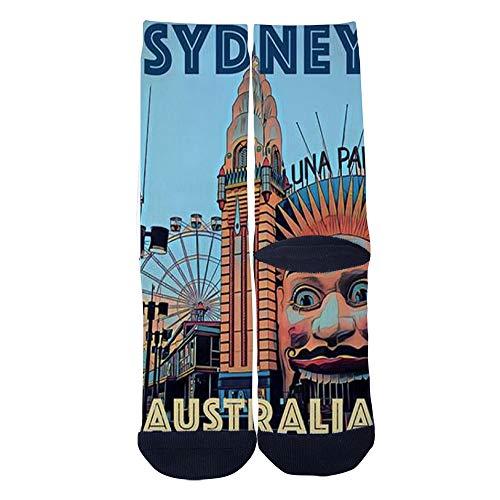 Men's Women's Custom SYDNEY LUNA PARK AUSTRALIA Socks 3D Print Novel Creative Casual Crew Socks Black