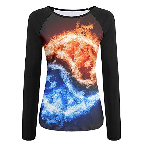 Womens Tai Chi Fire Casual Raglan Long Sleeve Tshirts Soft Quick-dry Pullover Sweatshirt For Sports Jogging Hiking Baseball Jersey Tee Shirt (Halloween Lights Gone Wild)