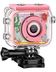 Fistech Children Kids Camera Waterproof Digital Video HD Action Camera 1080P Sports Camera Camcorder DV for Girls Birthday Holiday Gift Learn Camera Toy 1.77'' LCD Screen (Pink)