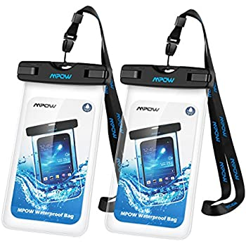 Mpow Universal Waterproof Case, IPX8 Waterproof Phone Pouch Dry Bag for iPhone8/7/7plus/6s/6/6s plus Samsung galaxy s8/s7 LG V20 Google Pixel HTC10 (Clear 2-Pack)