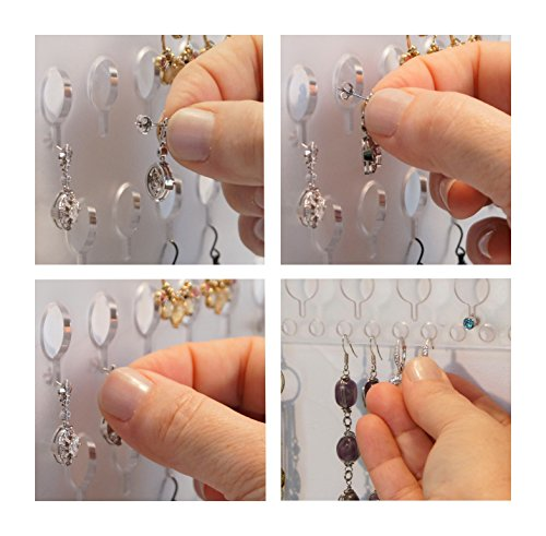 Angelynn's Wall Large Long Earring Holder Organizer Jewelry Storage Rack with Shelf, Nichole Satin Nickel Silver by Angelynn's (Image #5)