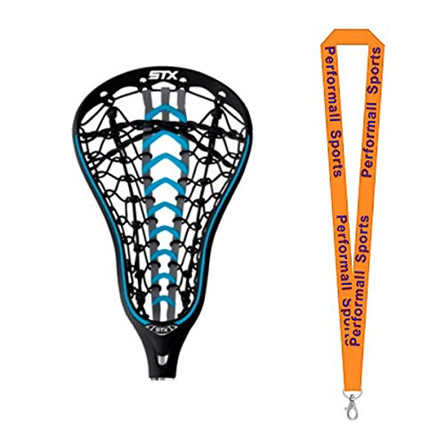 STX Bundle: Women's Fortress 500 Lacrosse Strung Head Electric Blue with 1 Performall Sports (Women Lacrosse Heads)