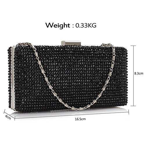 Leahward Bags Prom Handbags Black Bridal Diamante 190 Clutch Crystal Purse Wedding HrYHOfq