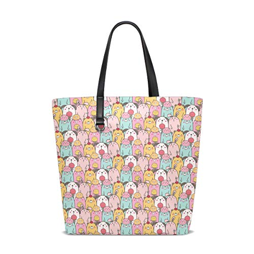 Women's Work Tote Soft Leather Cute Easter Bunnies Shoulder Bag