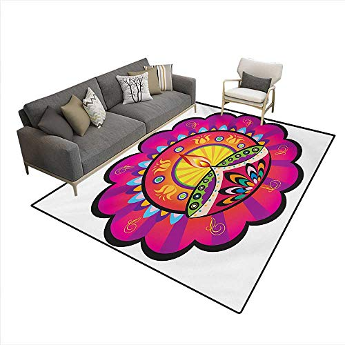 Floor Mat,Floral Paisley Design Oriental Details Tribal Ethnic Diwali Candles Print,Small Rug Carpet,Multicolored,5'x8' (Oriental Unscented Candle)