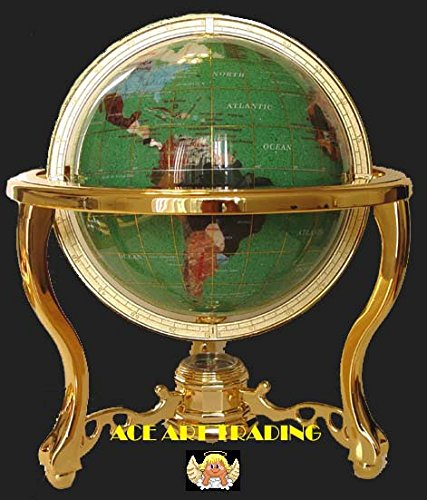 Collector's Edition14'' Tall Green Crystalite Ocean Tripod Gold Leg Table Stand Gem Gemstone World Map Globe Globes Maps by Unique Art Since 1996
