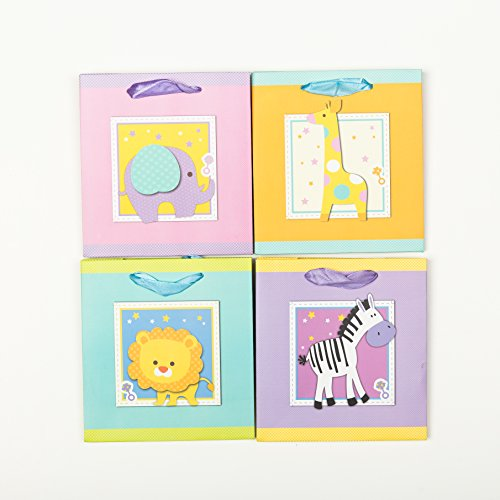[12 bags] Baby Shower Gift Bags With Handles - Boy or Girl - 4 Different Animals (6x3x6
