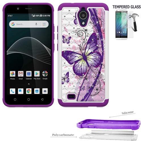 Phone Case for Axia (AT&T) / Cricket Prepaid Vision Case/AT&T Axia Case/Alcatel Axia Tempered Glass with Crystal Dual-Layered Cover (Crystal Butterfly-Purple/Tempered Glass) ()